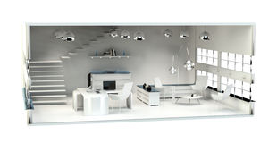 3D rendering office plan Stock Photography