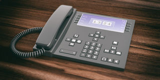 3d rendering office telephone on wooden background. 3d rendering black office telephone on wooden background Stock Photo