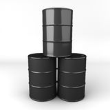 3d rendering of oil barrel or drum. Black oil drum or barrel stock illustration