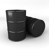 3d rendering of oil barrel or drum. Black oil drum or barrel royalty free illustration