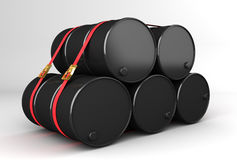 3D rendering of oil barrel for dsipatch. Barrels of natural resources ready for dispatch Royalty Free Stock Images