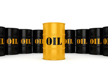 3D rendering oil barrels. 3D rendering Black and yellow metal oil barrels on white background Stock Image
