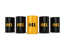3D rendering  oil barrels. 3D rendering Black and yellow metal oil barrels on white background Stock Photos