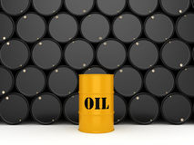 3D rendering oil barrels. 3D rendering Black and yellow metal oil barrels on white background Stock Photography