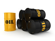 3D rendering oil barrels. 3D rendering Black and yellow metal oil barrels on white background Royalty Free Stock Image