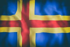Aland Islands flag waving. 3d rendering of an old Aland Islands flag waving Stock Photo