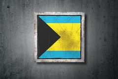 Bahamas flag in concrete wall Stock Image