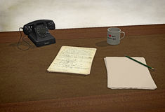 3D rendering: old fashioned still life, desk with vintage telephone and handwriting sheets. Old fashioned desk without computer, handwriting pages, pencil, mug Stock Photography