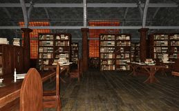 3D Rendering Old Library vector illustration