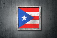 Puerto Rico flag in concrete wall Royalty Free Stock Images