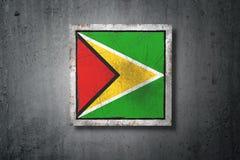 Republic of Guyana flag in concrete wall Stock Photo