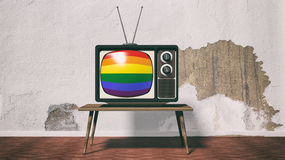 3d rendering old tv with gay flag screen Royalty Free Stock Images