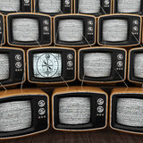 3D rendering old tv. 3D rendering many old TVs noisy one of whom works stock illustration