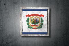 Old West Virginia State flag. 3d rendering of an old West Virginia American State flag in a concrete wall stock illustration