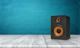 3d rendering of a one black speaker box with orange trim standing on a wooden table in front of a blue background. Sound equipment. Party music. Home sound Royalty Free Stock Images