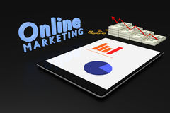 3D rendering : online marketing concept, computer tablet with a bar graph on screen and dollars money with red arrow grow up. Text online marketing,illustration Stock Photography