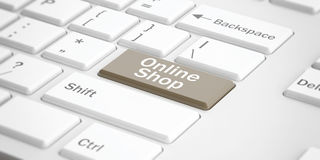 3d rendering online shop button on a keyboard Royalty Free Stock Image