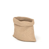 3d rendering of open burlap money bag isolated on white background. Stock Image