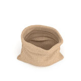 3d rendering of open burlap money bag isolated on white background. Royalty Free Stock Images