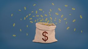 3d rendering of a open hessian sack with a dollar sign stands on a blue background while many drawn yellow coins fly out. Of it. Money bag. Sack full of cash Stock Photography