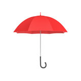 3d rendering of an open red umbrella with a black curved handle isolated on white background. Stock Images