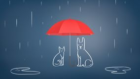 3d rendering of a open red umbrella covering chalk drawn cat and dog from rain on a blue background. Raining cats and dogs. Family insurance. Protection from Stock Photos