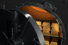 3D rendering from an open vault with gold bullions Royalty Free Stock Photo