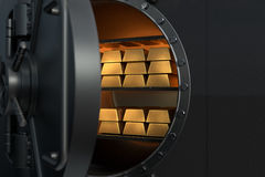 3D Rendering from an open vault with golden bullions Royalty Free Stock Image