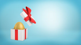 3d rendering of an open white gift box with a red ribbon bow holds a golden egg inside. Best offer. Valuable purchase. Well-spent money Royalty Free Stock Photo