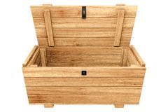 3d rendering of opened Pallet wooden chest isolated on white bac royalty free illustration