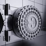 Bank vault door. 3d rendering of opened view bank vault door. Safety and secure business concept stock illustration