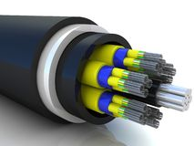 3d rendering of an optic fiber cable. On white backgound Royalty Free Stock Image