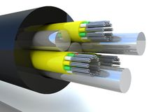 3d rendering of an optic fiber cable. On white backgound Royalty Free Stock Images