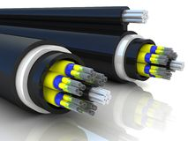 3d rendering of an optic fiber cable Stock Photos