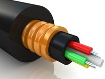 3d rendering of an optic fiber cable Royalty Free Stock Photo