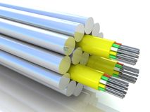 3d rendering of an optic fiber cable. On white background Stock Images