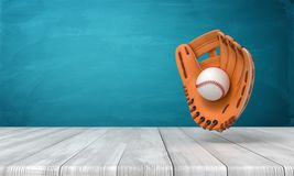 3d rendering of orange baseball glove with a baseball suspended in air above wooden surface near blue wall with copy
