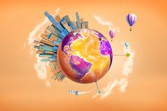 3d rendering of a orange and purple Earth globe with large skyscrapers on its surface, hot air balloons and a rocket. Flying around. World travel. International royalty free illustration