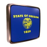 Oregon flag icon. 3d rendering of an Oregon State flag icon with a bright frame. Isolated on white background Royalty Free Stock Images