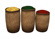 3D Rendering Oriental Spices on White. 3D rendering of oriental spices isolated on white background royalty free illustration