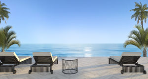 3d rendering outdoor beach bed in villa near ocean in summer Royalty Free Stock Photography