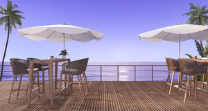 3d rendering outdoor wooden dining set near beach in the evening Stock Photo