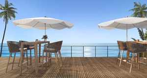 3d rendering outdoor wooden dining set near beach in the summer Stock Image