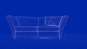 3d rendering of an outline chair object. On a blue background Stock Photos