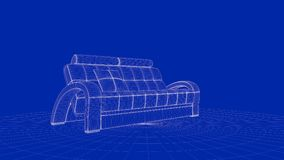 3d rendering of an outline chair object. On a blue background Royalty Free Stock Photo