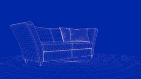 3d rendering of an outline chair object. On a blue background Stock Photo