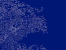 3d rendering of an outlined tree blueprint  on blue back. Ground Stock Image