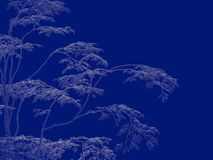 3d rendering of an outlined tree blueprint isolated on blue back. Ground Stock Images