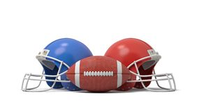 3d rendering of an oval American football ball between two helmets of different colors. Fighting in sport. Football teams. Compete for winning place Royalty Free Stock Image