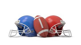 3d rendering of an oval American football ball between two helmets of different colors. Fighting in sport. Football teams. Compete for winning place Stock Photo
